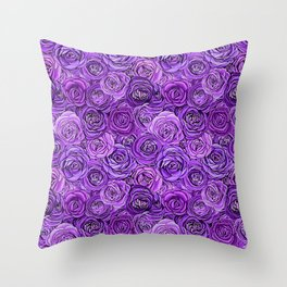 valentines roses in purple / ultraviolet Throw Pillow
