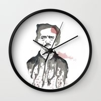 poe Wall Clocks featuring Poe by Eda ERKOVAN