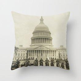 Vintage Motorcycle Police - Washington DC Throw Pillow
