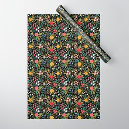 Amazing floral pattern with bright colorful flowers, plants, branches and berries on a black backgro Wrapping Paper