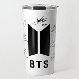 bts logo white with signatures Travel Mug