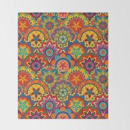 Funky Retro Pattern Mandalas Throw Blanket