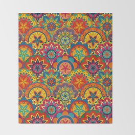 Funky Retro Pattern Mandalas Throw Blanket