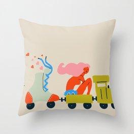 Roller train Throw Pillow