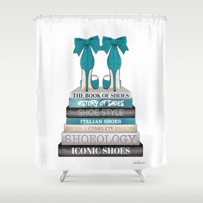 Books, Teal, Shoes, Fashion books, Fashion illustration, Fashion, Amanda Greenwood, watercolor, wall Shower Curtain