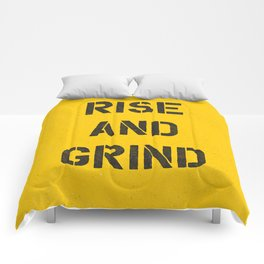Rise and Grind black-white yellow typography poster bedroom wall home decor Comforters