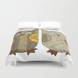 4 Gold Owls Duvet Cover