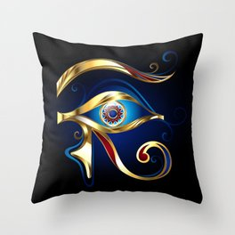 Gold Eye of Horus Throw Pillow