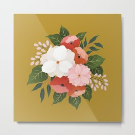Florals on Mustard Metal Print