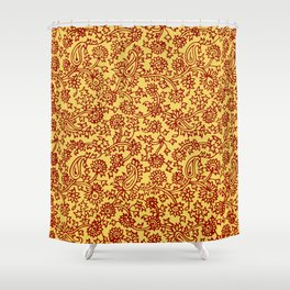 Indian Wood Block Patterns Shower Curtain