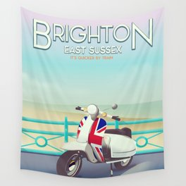 Brighton Union Scooter travel poster, Wall Tapestry