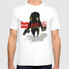 Monkey Go Boom Now X-LARGE White Mens Fitted Tee