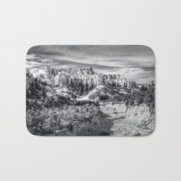 Castle in the sky in black and white - Water Canyon Bath Mat