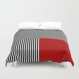 Geometric abstraction: black and white stripes, red square Duvet Cover