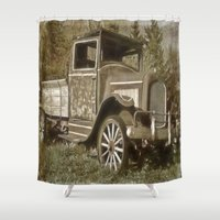 wooden Shower Curtains featuring Wooden Spokes by Dorothy Pinder