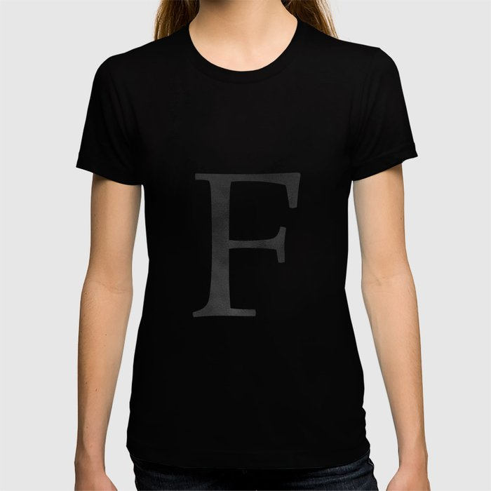Letter F Initial Monogram Black and White T-shirt