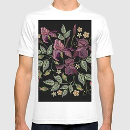 Beautiful spring purple irises against black background, embroidery template. Embroidery irises T-shirt