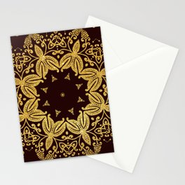 golden flowers on the brown background Stationery Cards