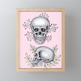 Skull with florals on pink Framed Mini Art Print