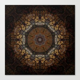 Rich Brown and Gold Textured Mandala Art Canvas Print