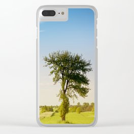 Rural grassland trees view Clear iPhone Case