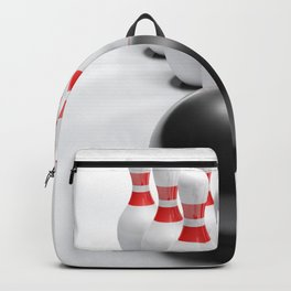 Bowling bow and pins on white surface - 3D rendering Backpack