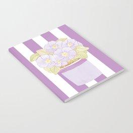 Purple Primrose Pot on Purple Stripes Notebook