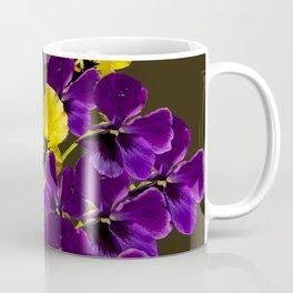 Purple And Yellow Flowers On A Dark Background #decor #buyart #society6 Coffee Mug