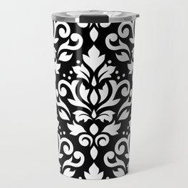 Scroll Damask Large Pattern White on Black Travel Mug