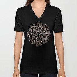 Rose Gold Mandala Marble Unisex V-Neck