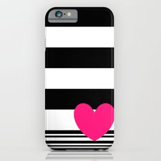 Black and white stripes and neon pink heart Slim Case iPhone 6