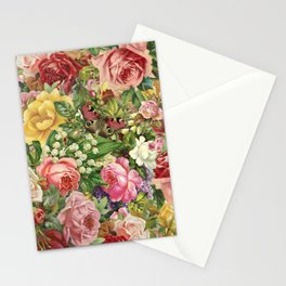 Vintage Retro flower pattern old fashioned Stationery Cards