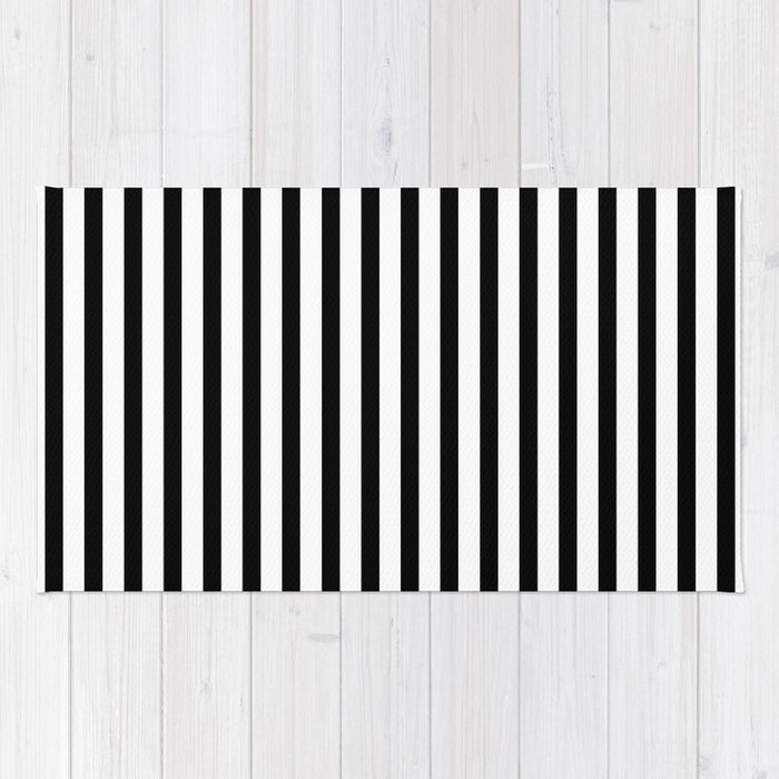 Black   White Small Vertical Stripes - Mix   Match with Simplicity of Life  Rug 7a56d822f2480