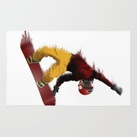 snowboarding Area & Throw Rugs featuring Snowboarding by Boehm Graphics