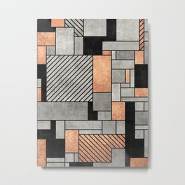 Random Pattern - Concrete and Copper Metal Print