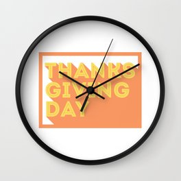 Happy Thanksgiving Day Design Wall Clock