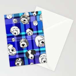 Plaid Sheepies Blue Stationery Cards