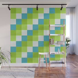Apples and Pears - Pixelated Pattern with blues and green  Wall Mural