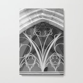 Window of St. Mary's Church Torgau, black and white photo Metal Print