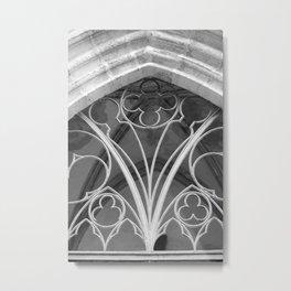 Window of St. Mary's Church Torgau, black and white photo Metal Print