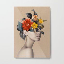 woman with flowers 8 Metal Print