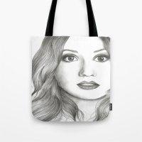 karen hallion Tote Bags featuring Karen Gillan Portrait by livigrace16