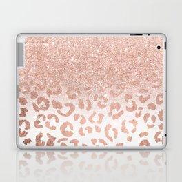 Trendy modern faux rose gold glitter ombre leopard pattern Laptop & iPad Skin