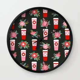 Coffee florals modern valentines day gifts for coffee lovers floral botanical bouquet Wall Clock