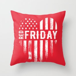 Red Friday Distressed USA Heart Military Throw Pillow