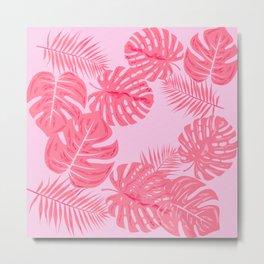 Tropical flamingo pink leaves Metal Print