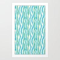 Blue & Green Zebra Print Art Print