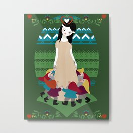 Snow White and the Seven Little Friends Metal Print