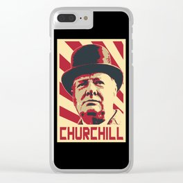 Winston Churchill Retro Propaganda Clear iPhone Case