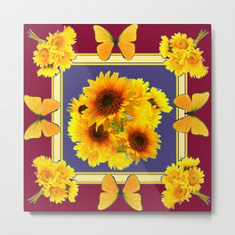 BUTTERFLY SUNFLOWER BOUQUETS BURGUNDY ART Metal Print